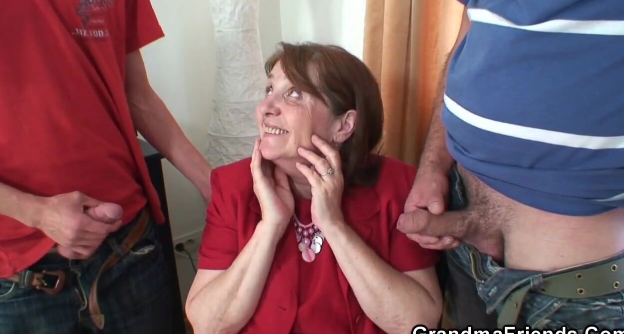 70 Year Old Granny Porn office 3some with 80 years old granny in stockings