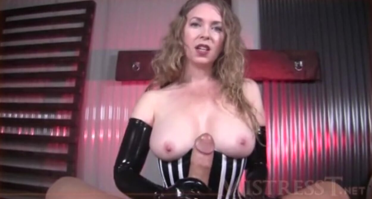 Long Leather Gloves Handjob